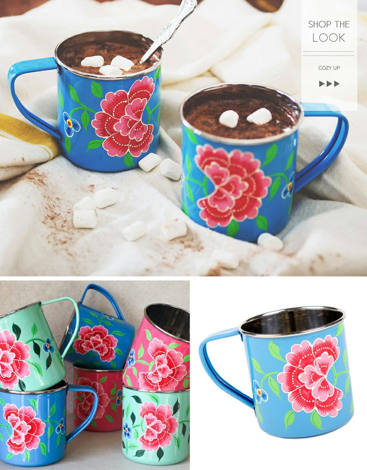 Hand Painted Floral Enamel Mugs #cocoa #mug #gift #mom #sister #grandma