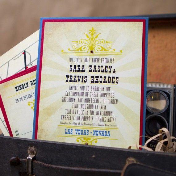 Vintage Las Vegas Wedding Invitation (Pocket Card)   Design Fee