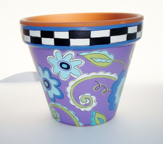 Hand Painted Flower Pot Terra Cotta Whimsical by ThePaintedPine