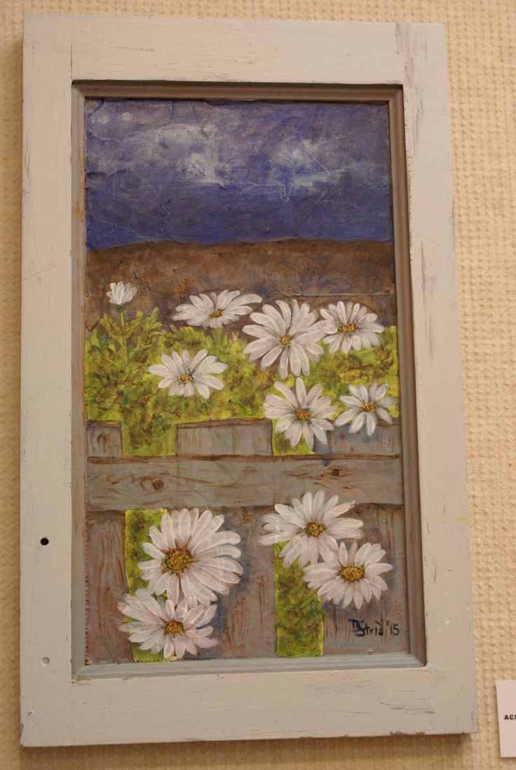 Field of Daisies with Fence. Acrylic paint on brown paper collage on recycled cabinet door