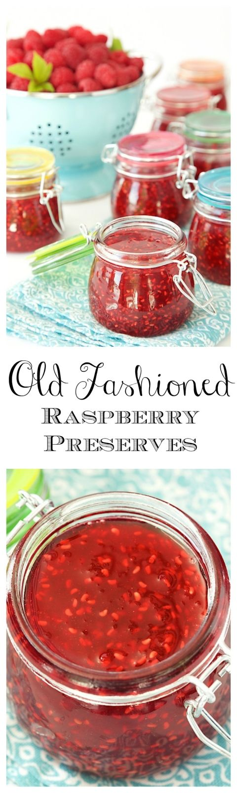 Old Fashioned Raspberry Preserves - so easy and so full of fresh raspberry flavor. These will be like delicious little jars of sunshine on cold winter mornings - and It will take you less than 30 minutes to make 6 jars of jam!