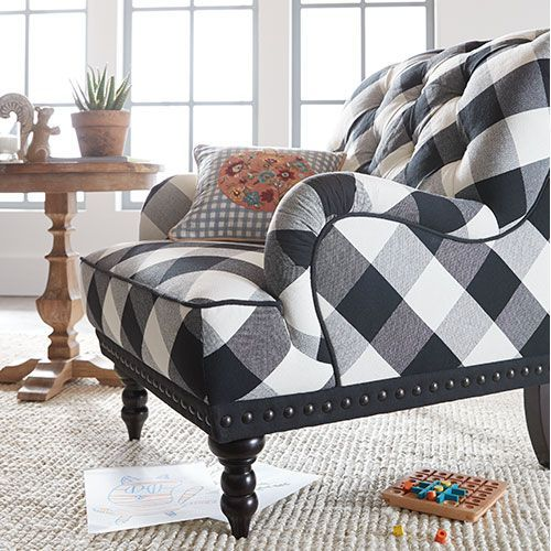Best Chas Indigo Blue Floral Armchair Plaid Living Room 400 x 300