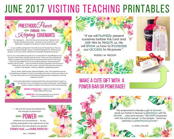 $2.00, June  2017 Visiting Teaching Message Printable Instant