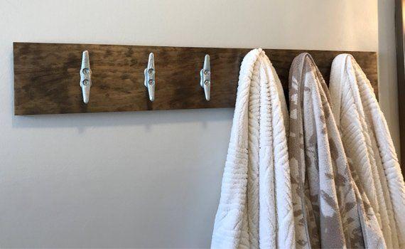 Modern Lake House Coat Rack 6 Boat Cleats Wall Mounted Wood Metal Nautical Naval Bathroo Modern Coat Rack Wall Coat Rack Wall Nautical Bathroom Decor
