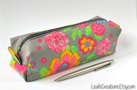 Pencil case Zipper pouch boxy School supplies Flowers Pink Grey Yellow Green. LeafsCreations.