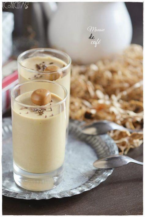 MOUSSE DE CAFE (1 tasse de décaféiné, 4 feuilles de gélatine, 2 oeufs, 60 g de sucre, 20 cl de crème)