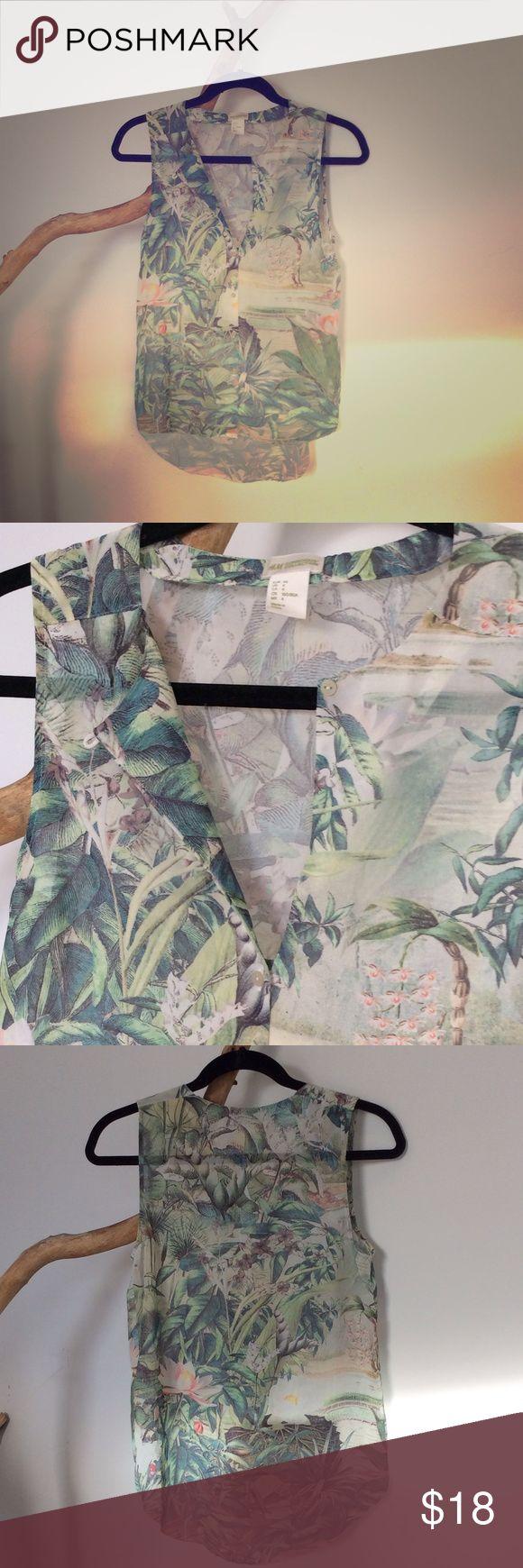 Jungle floral chiffon shirt Chiffon tropical jungle sleeveless shirt H&M Tops Blouses