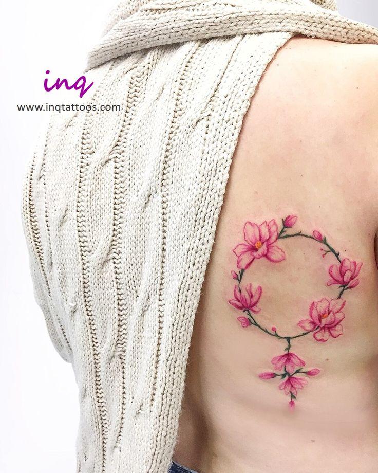 inq Tattoos - Pink magnolia flower wreath tattoo | Tattoos ...