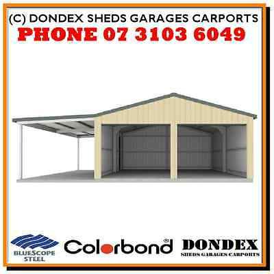DONDEX Double Garage Shed Kit 6.08 x 6.08 x 2.4 + 3.0m Awning Colorbond W41 N3