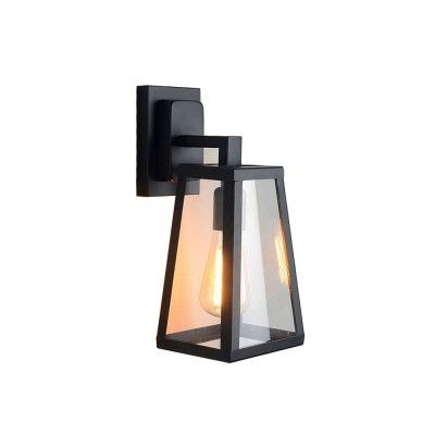 Iron Bar and Glass Shade Wall Sconce