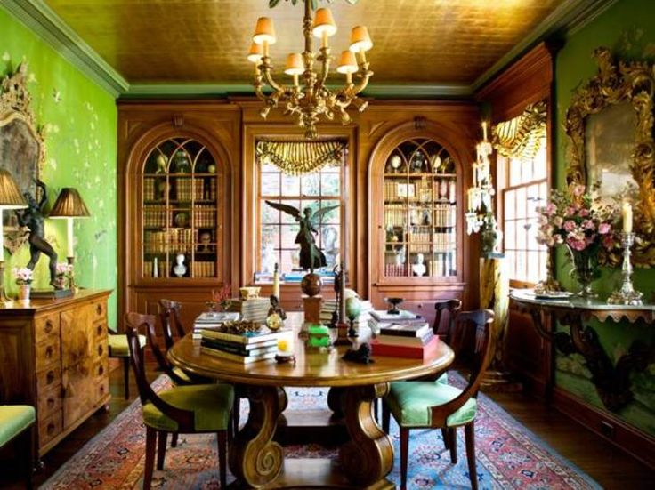 Dining Room Elegant Victorian Style With Green Walls And Built In Bookcase Arched Top Glass Doors D
