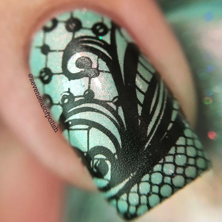 Macro of @femme_fatale_cosmetics Dropping Through Sky. If you ever wondered how the leather-like finish of the stamp is made, it's easy. Super squishy stamper & no top coat after stamping.