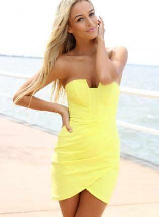 Neon Yellow Strapless Bodycon Mini Dress with Pleat Detail,  Dress, neon dress  pleated  strapless, Chic