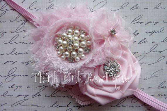 Pink baby headband,Valentines headband,baby headbands, newborn Headband, Shabby chic headband,Easter Headband,Baby girl headband, Hair Bows.