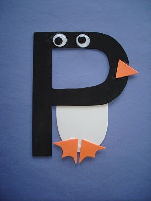 Play and Learn. Ingenius way to learn and create at the same time. This site has an idea for every letter. Example: As pictured, P is for Penguin.