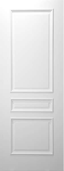 3 Panel Square Top White Primed With Raised Moulding :: Interior Solid  Primed Doors :: Interior Doors And Exterior Doors