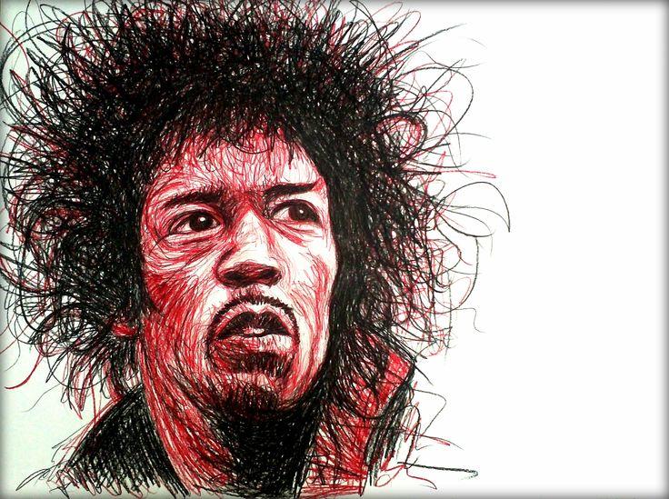 Jimi Hendrix 2#redblack scribbling/ A1