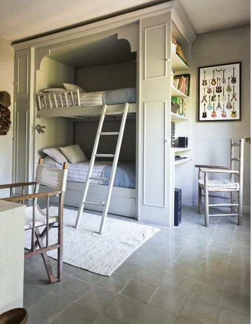 nice idea for bunkbeds, like the shelving and desk on the side. #bunkbeds