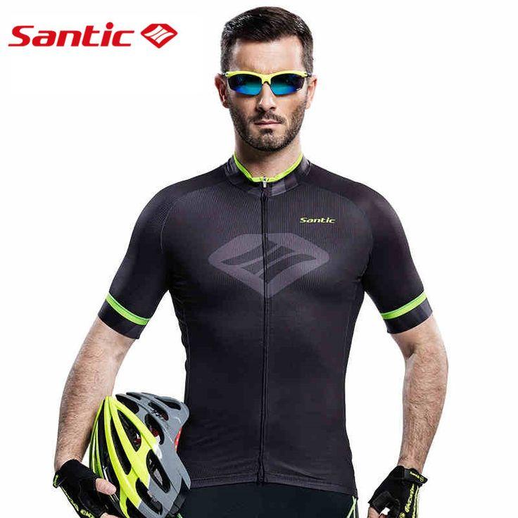 Santic Men Black Cycling  Jerseys Santic Outdoor Sportswear BicycleFast Dry MTB Road Bike UV-proof Jersey M6C02088H #Affiliate