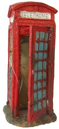 Telephone Box Aquarium Ornament Decoration