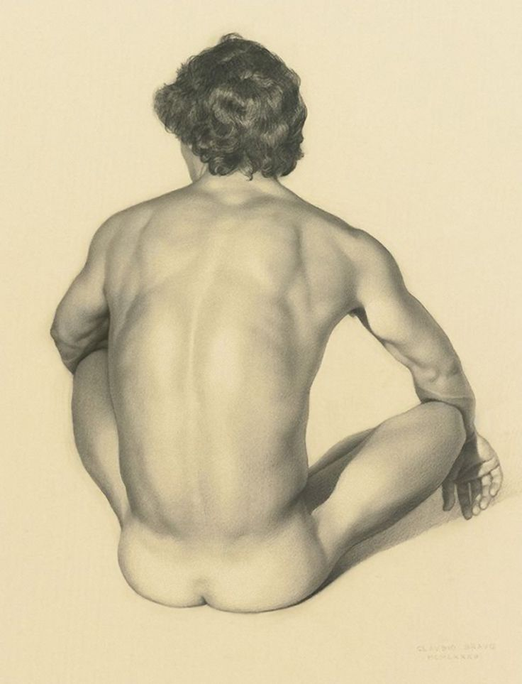 Claudio Bravo (1936–2011) was a Chilean hyperrealist painter. He was greatly influenced by Renaissance and Baroque artists, as well as Surrealist painters such as Salvador Dalí. Depicted here is his posterior back of a seated discreet nude male figure drawing. <3
