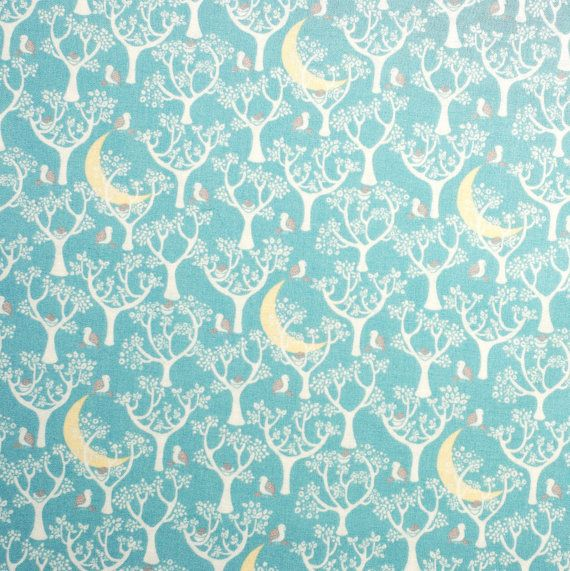 Magical #Forest & #Moon Print #fabric - half meter $12.90 100% #Cotton - Duck Egg blue - #quilting #patchwork #beautifulfabric #fabricaddict #fabriclust
