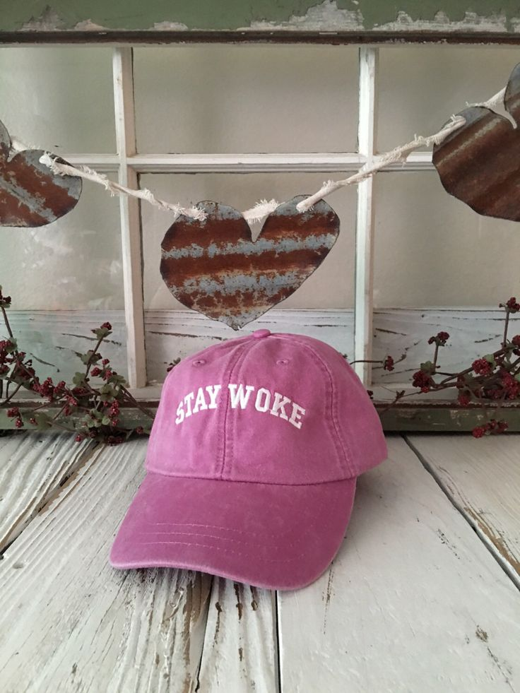STAY WOKE Washed Baseball Hat Low Profile Embroidered Baseball Caps Dad Hats Raspberry by TheHatConnection on Etsy https://www.etsy.com/listing/468306936/stay-woke-washed-baseball-hat-low