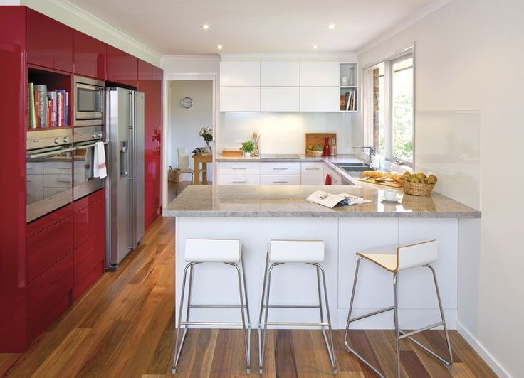 Get the look - nougat truffle and seduction red thermoformed doors and panels in modern profile. marbellino laminate benchtops. t-pull handles alternating with push to open hardware...+kaboodle kitchen