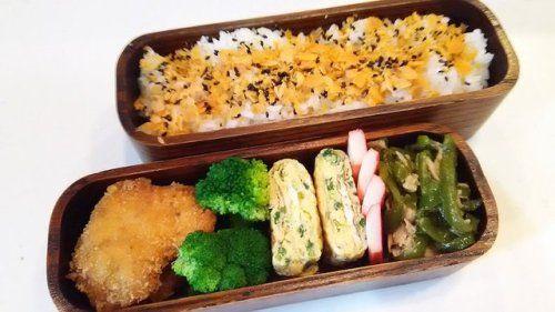 posted by @hiroko_13d 今日のお弁当鮭フレークご飯チキンカツ玉子焼き無限ピーマン#お弁当...