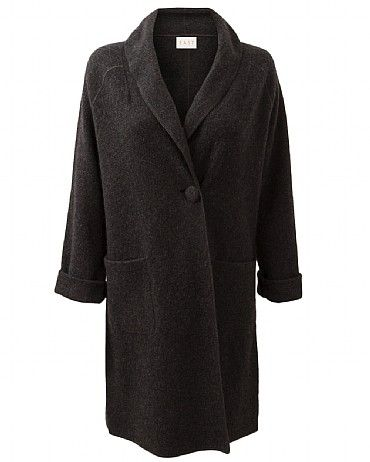 Boiled Wool Shawl Coat The luxurious shawl collar design adds a modern luxe twist to this boiled wool jacket. Features covered buttons and side pockets. Great with jeans and your favourite feminine blouses.
