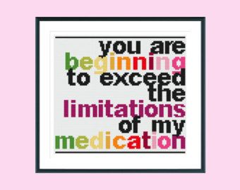 Funny cross stitch pattern, exceed medication, instant download