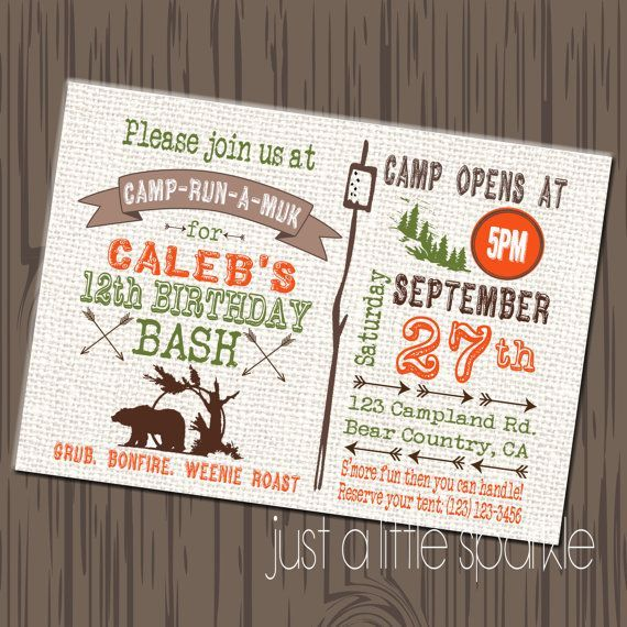 camp birthday party invitations diy - Google Search