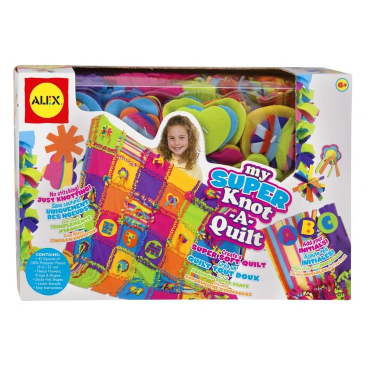 ALEX Toys Crafts My Super Knot-A-Quilt provides creative kids with everything they need to make a family keepsake with this oversized quilting kit. This super-easy activity allows quilters to create a masterpiece quickly; just knot and lace! Layered shapes and tassels let them customize with 7 colors of fleece. The combinations and possibilities are as …