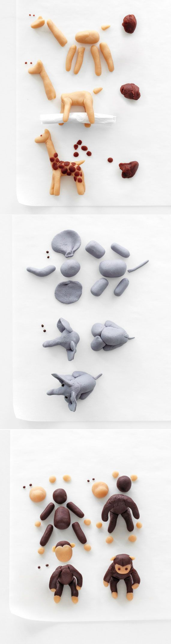 #DIY Marzipan Menagerie Cake Toppers in Fun, Animal Shapes