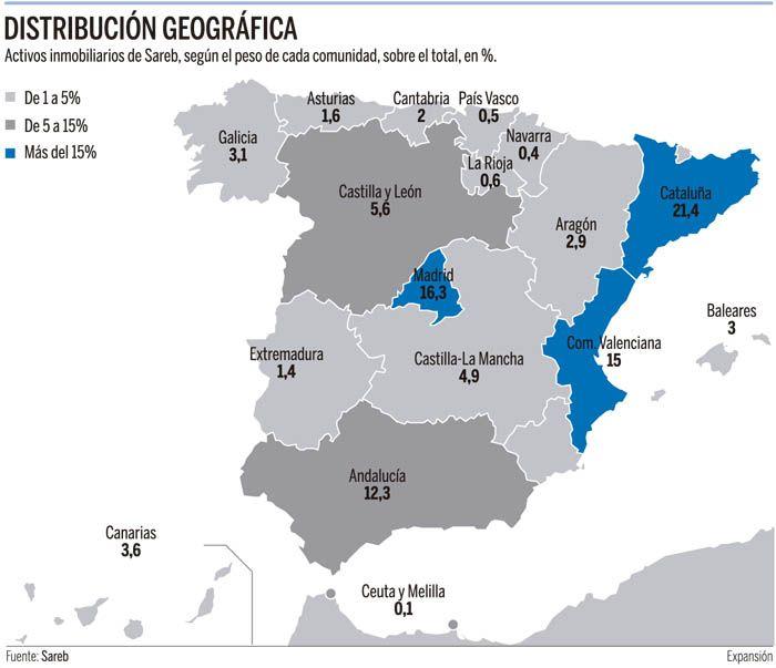 Distribución de los activos inmobiliarios de Sareb en España