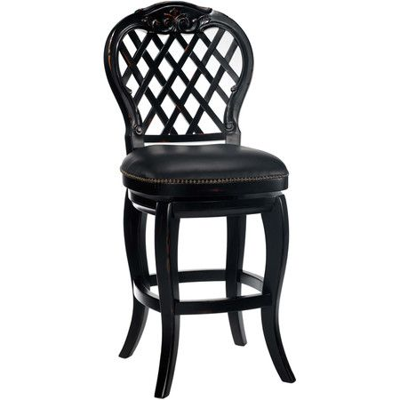 swiveling wood and leather barstool with a lattice back and nailhead trim product
