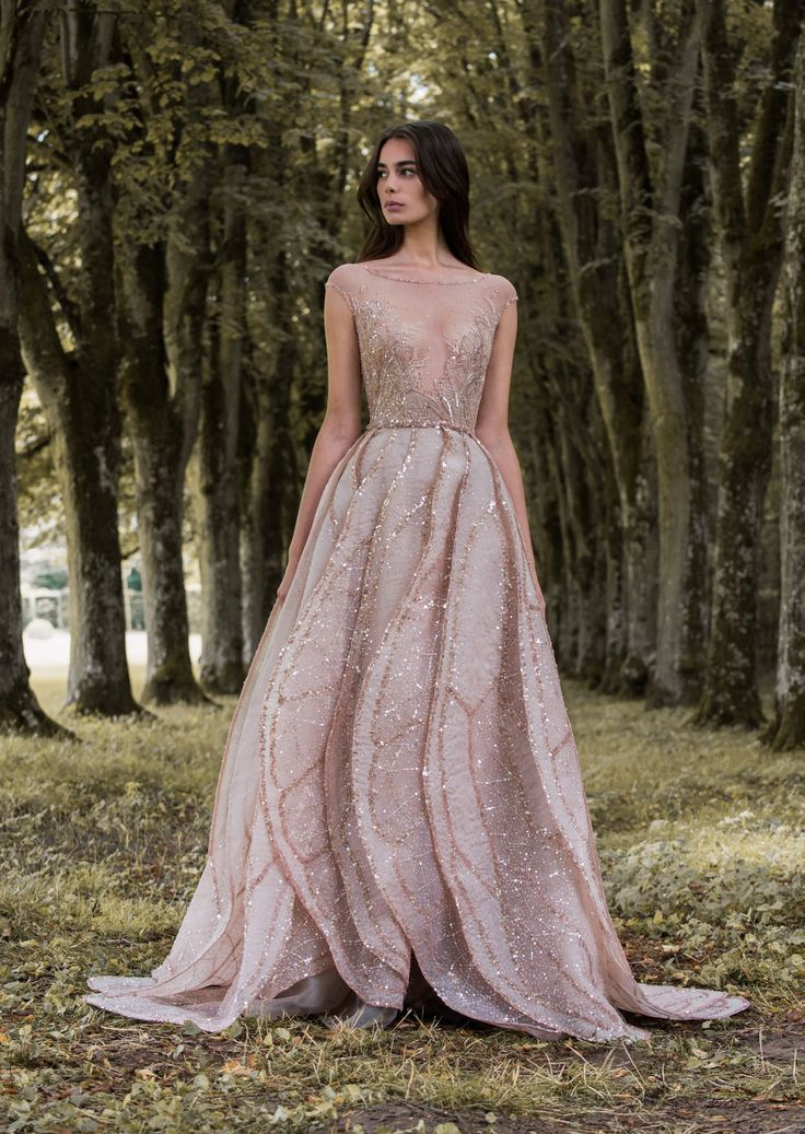 """Rose gold dragonfly gossamer wing-inspired wedding dress by Paolo Sebastian // Beautiful couture wedding gown inspiration from Paolo Sebastian's 2016/2017 Autumn Winter """"Gilded Wings"""" collection {Facebook and Instagram: The Wedding Scoop}"""