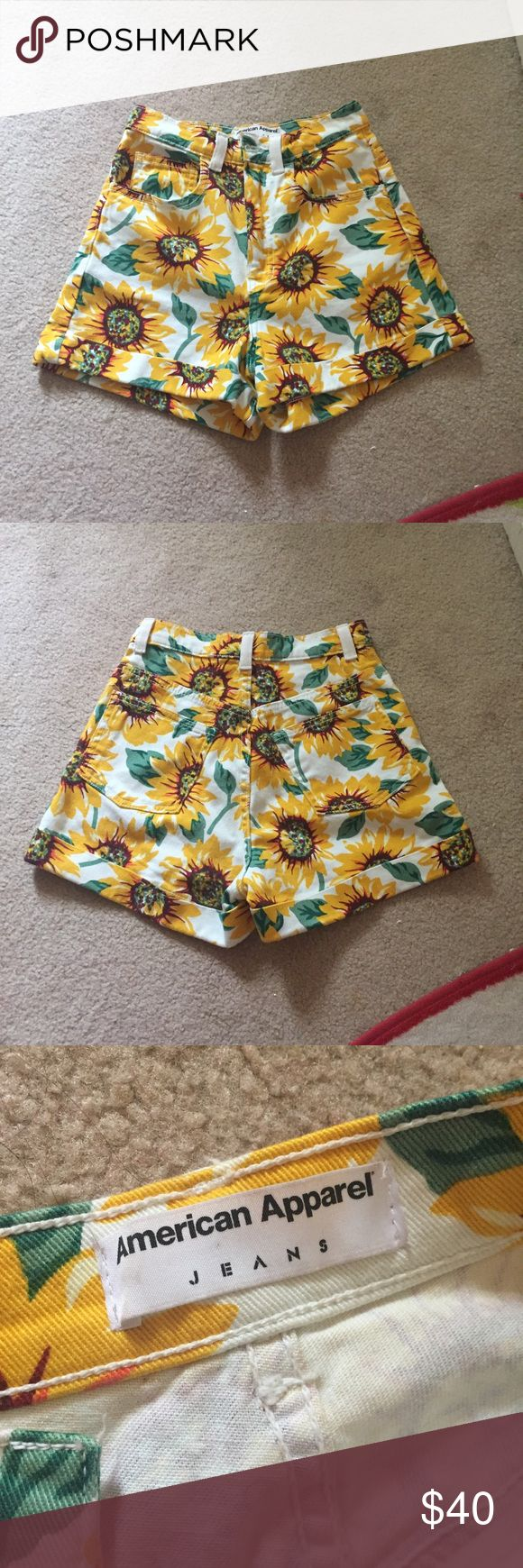 American apparel sunflower shorts 🌻 Price is firm. Never even worn by me yet, in perfect condition! 100% authentic, high waisted sunflower shorts. Only reason I'm selling is b/c I need money, no trades! Absolutely love these shorts! American Apparel Shorts