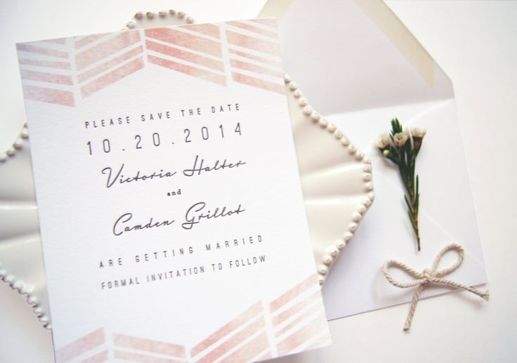Blush Pink Watercolor and Letterpress Wedding Save The Date with zig zag pattern- SAMPLE. $5.00, via Etsy.