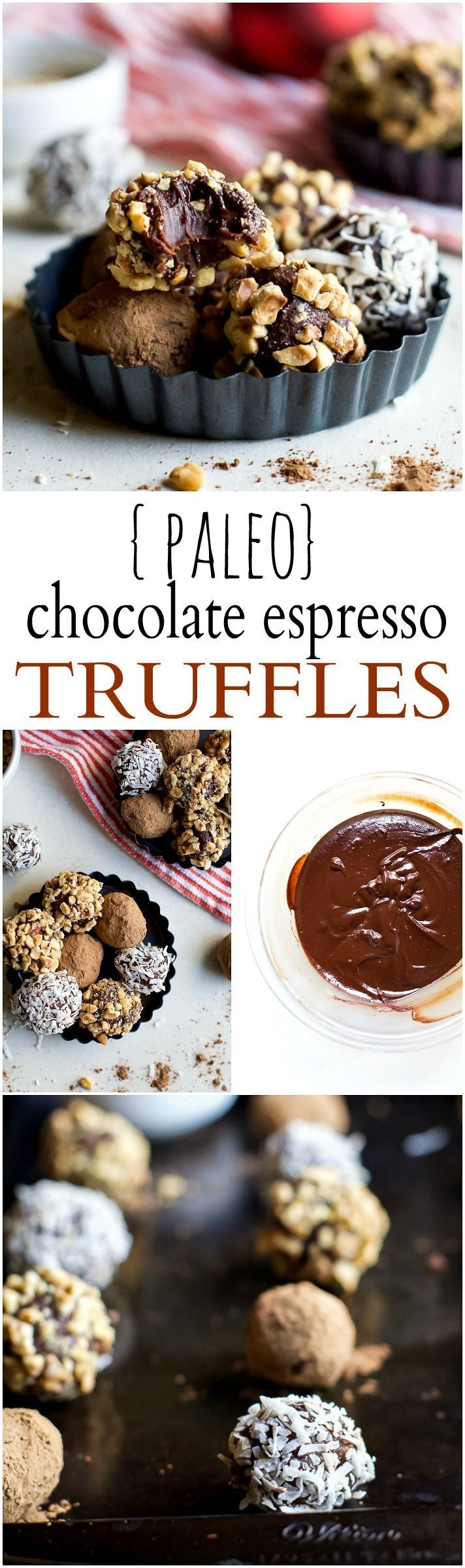 You're just 4 ingredients away from these PALEO CHOCOLATE ESPRESSO TRUFFLES. Creamy, silky, smooth chocolate - you want these on your cookie platter this holiday season! | joyfulhealthyeats... | Gluten Free Recipes | Cookie Recipes