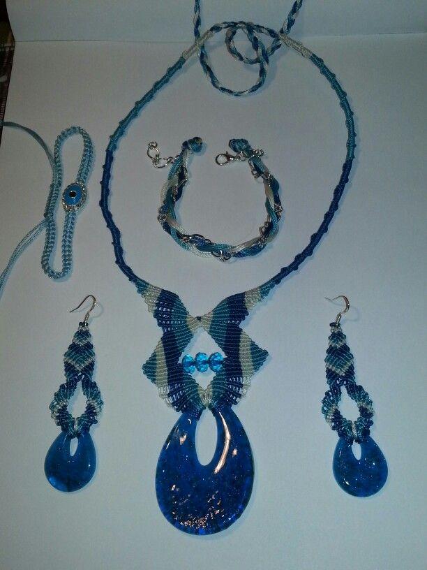 Blue macrame set
