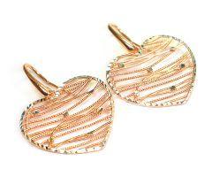 Cercei argint 925 rodiat cu rodiu roz si diamantati cu aur alb, design italian.