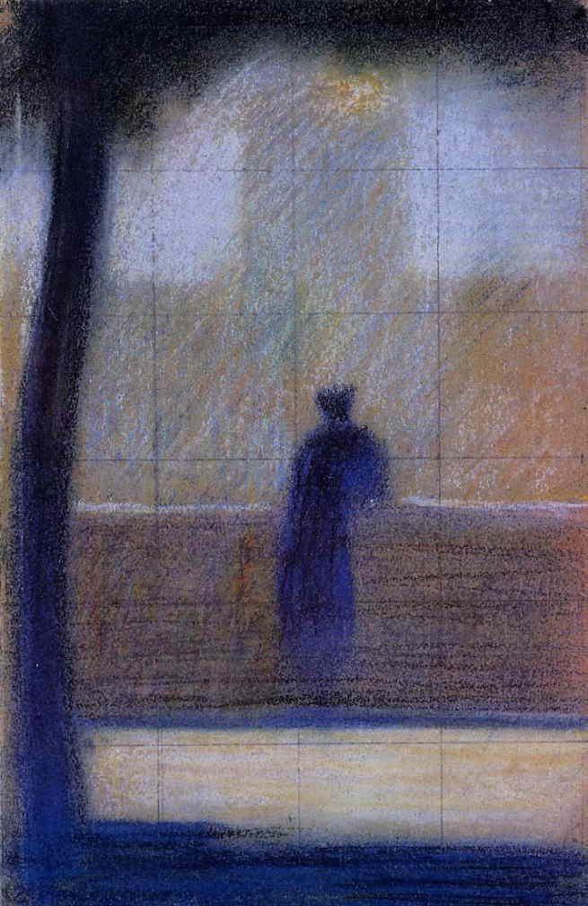 ジョルジュ・スーラ 「欄干に寄りかかる男性」 1879-81 | 59x80cm |個人蔵