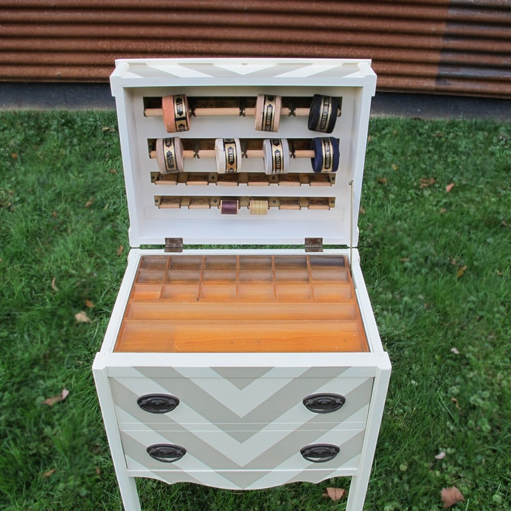 Upcycled Vintage Sewing Cabinet Bedside Table Chevron