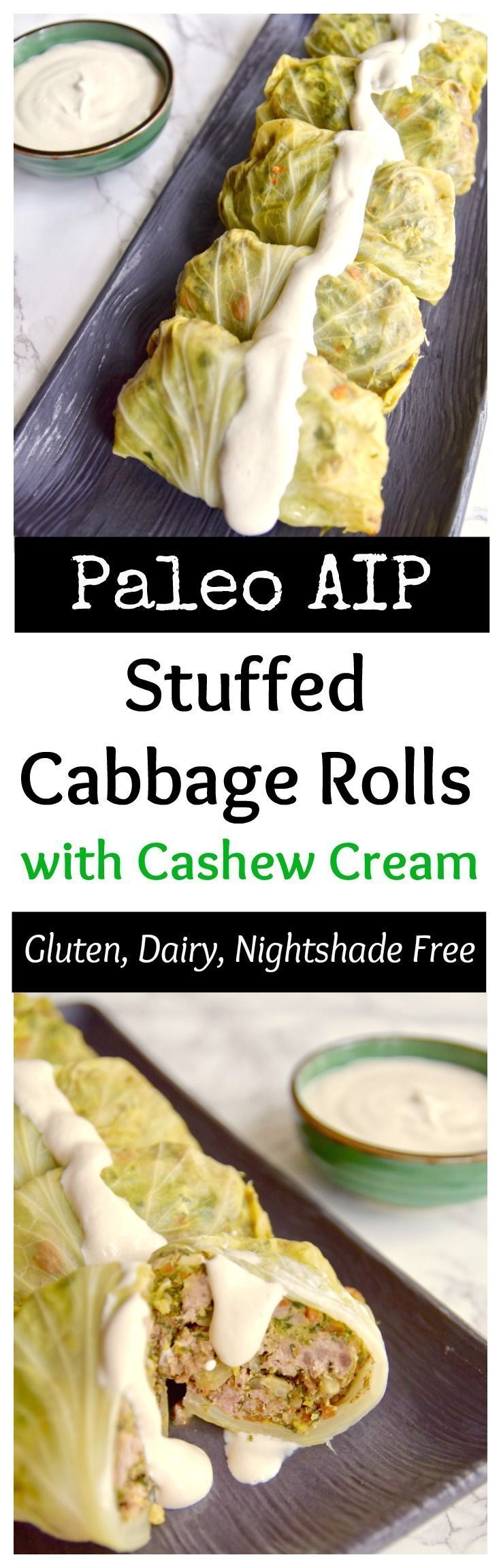 This tomato-less stuffed cabbage with cashew cream is great for St. Patrick's Day or any day of the year. It's dairy free, rice free and night shade free so great for AIP Paleoor a healthy meal   http://TastingPage.com