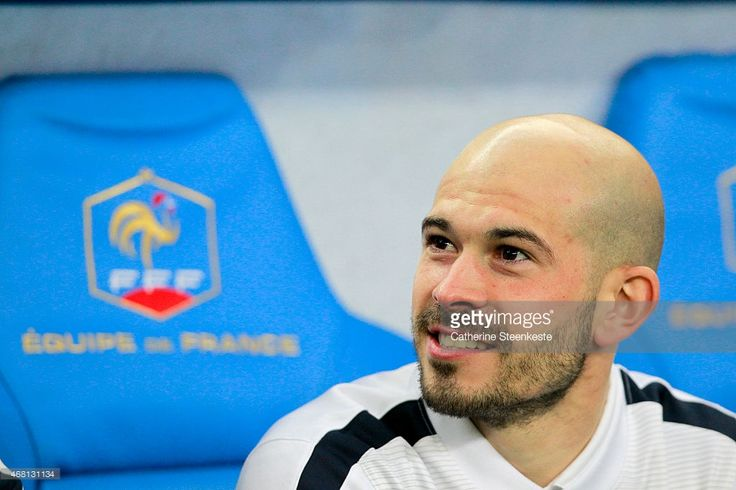 Christophe Jallet #2 of France is on the bench prior to the international friendly game between France and Brazil at Stade de France on March 26, 2015 in Saint Denis near Paris, France.