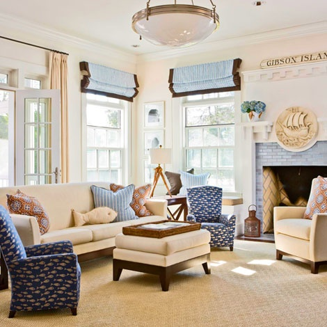 blue, pale yellow family room