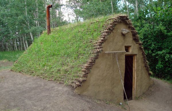 The burdei dates back as far as 6000 years and it's a type of half-dugout shelter somewhat between a sod house and a log cabin, usually with a floor that's 1 – 1.5 meters under ground level.