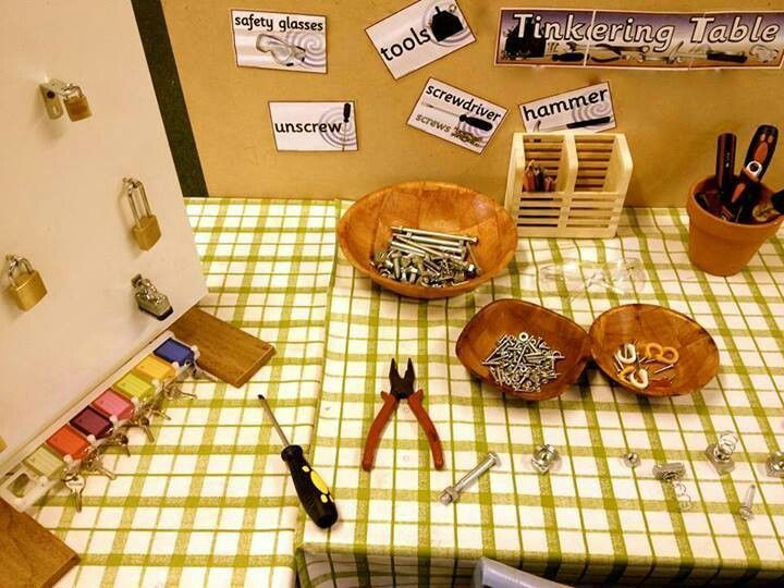 Tinkering Table-I love the locks and keys on this table: