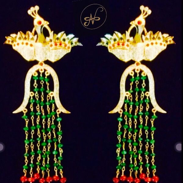 Namrata Singh Fine Jewellery - The Peacock Earrings , Rubies, Emeralds, Sapphires & diamonds set in 18 kt gold with emerald beads!!!